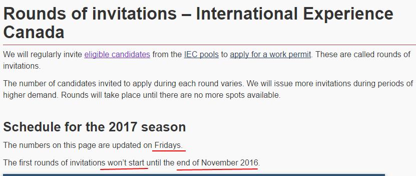 Ciclo 2017: IE Canada al 14/Nov 2016
