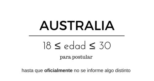 2017 Mar 05 Edad de postulación WH462 Australia Visa