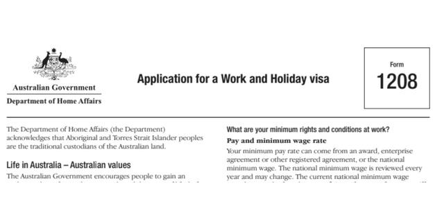 Formulario 1208 Postulación Australia Work & Holiday 462