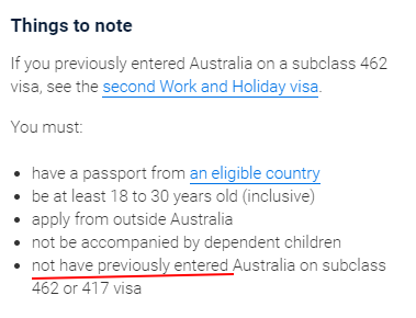 Australia Primera visa WH 462 no activada